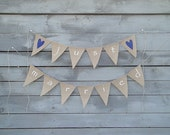 Just married burlap wedding banner with navy blue hearts