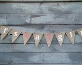 It's a girl burlap banner bunting, girls babyshower