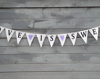 Love Is Sweet Burlap Banner with Lavender Hearts