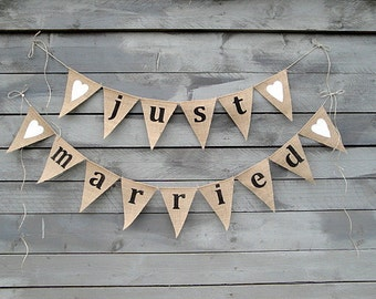 Just married burlap banner with white glittered hearts, lowercase
