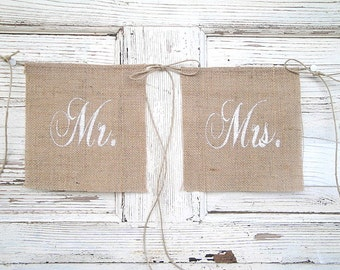 Mr and Mrs glittered chair banners - Small