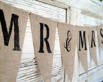 Mr&Mrs burlap bunting banner