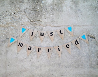 Just married burlap banner bunting with turquoise hearts
