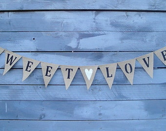 Sweet love burlap bunting banner with white glittered heart