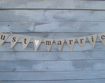 Just Married Burlap Banner with White Glittered Heart Lowercase