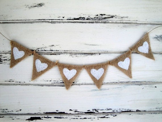 Tiny burlap banner with white glittered hearts