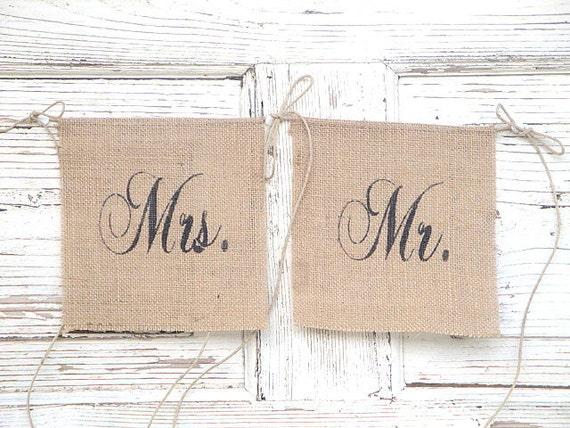 Mr and Mrs burlap chair banners - Small