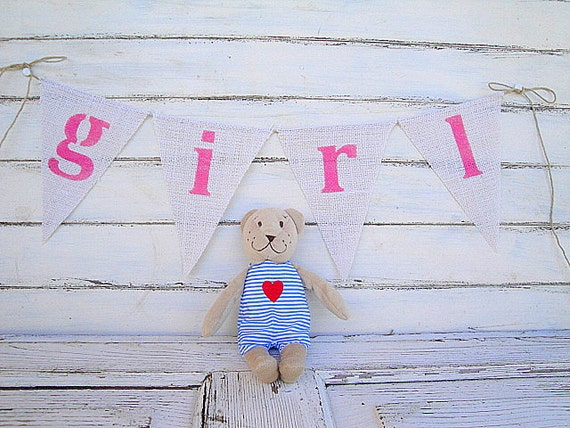 Girl... pink burlap banner, photography prop