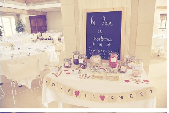 love is sweet burlap banner with red hearts