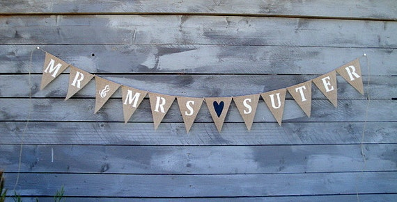 Mr & Mrs Personalized Burlap Banner With Your Last Name, Custom Wedding Name Banner