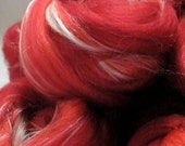 Red Wool Roving - Spinning Fiber Red Delicious, Merino, Sea Cell, Silk, 100g