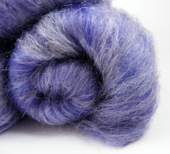 Purple Fiber Batts -  Disco Diva,  Merino, Shetland, Silk, 100g