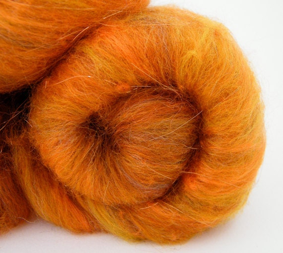 Spinning Fiber Batt- Orange, Horus,  Merino, BFL, Silk 100g