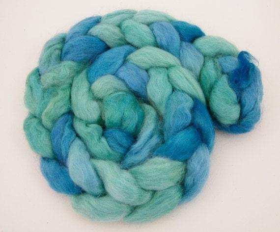 Turquoise Roving- Spinning Fiber- Teeswater Alpaca- Wriggle 95g
