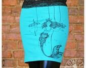 Teal Mini skirt - Electric Green Blue Skirt -  MEDIUM SKIRT