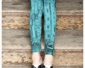 Victorian City Leggings - Printed Aqua Blue Leggings - Legging - SMALL Legging Tights