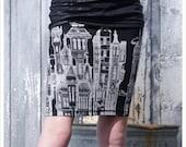 Black Pencil skirt - Skirt - Black Mini skirt - Black White - Printed skirt - LARGE