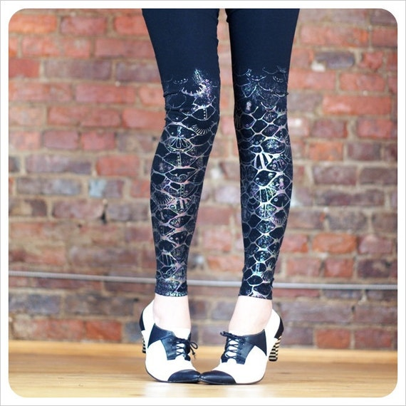 Mermaid Art Leggings - Print Leggings -  Rainbow Foil Screenprint - Steampunk clothing- Fantasy Art clothing