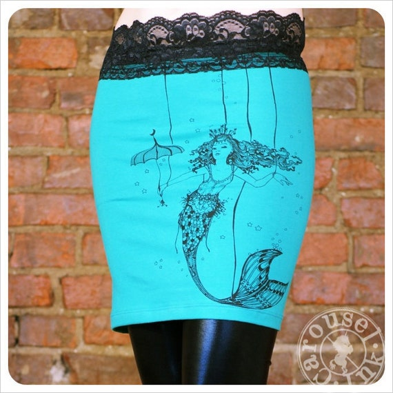 Teal Mini skirt - Electric Green Blue Skirt -  MEDIUM SKIRT
