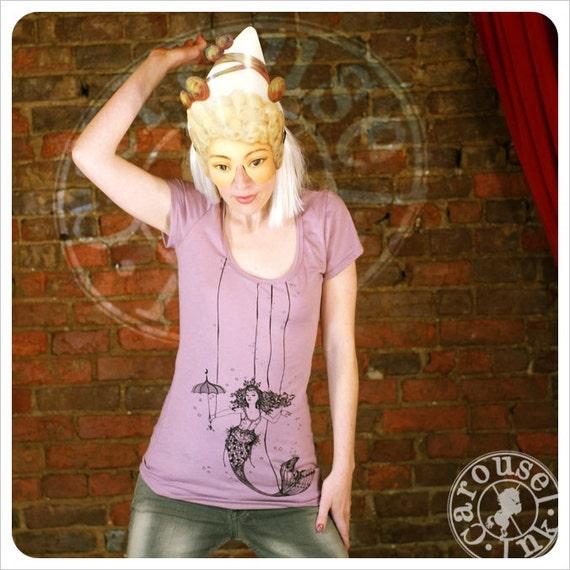 Womens Tshirt - Pink Tshirt  -  Mermaid Art - MEDIUM Tshirt