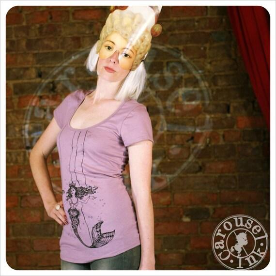 Womens Tshirt - Pink Tshirt  -  Mermaid Art - LARGE Tshirt