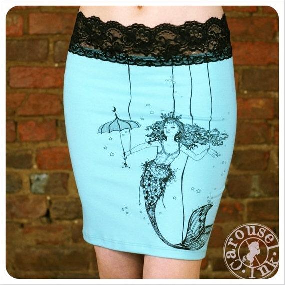 Mermaid Pencil Skirt - Turquoise skirt - MEDIUM mini skirt