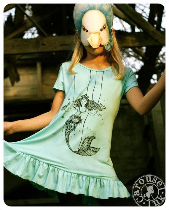 7/8 Girls Dress - Mermaid Art - Childrens clothing- Fairy Tale Clothing - Screenprint Dress- Turquoise girls dress- 5/6 - 7/8-