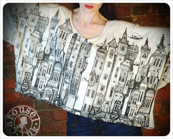 OversizeT shirt one size City Art drape top victorian Art
