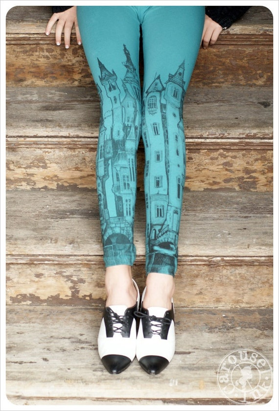 Printed  Blue Leggings - Victorian City Leggings - Aqua Legging - SMALL Legging Tights