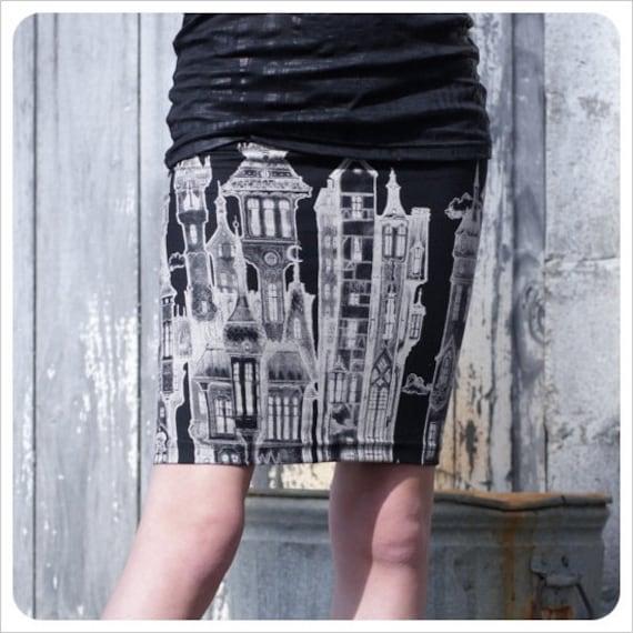 Black Pencil skirt - Skirt - Black Mini skirt - Black White - Printed skirt - MEDIUM