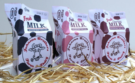 Milk Carton Favor Treat Gift Box Cow Print Personalized