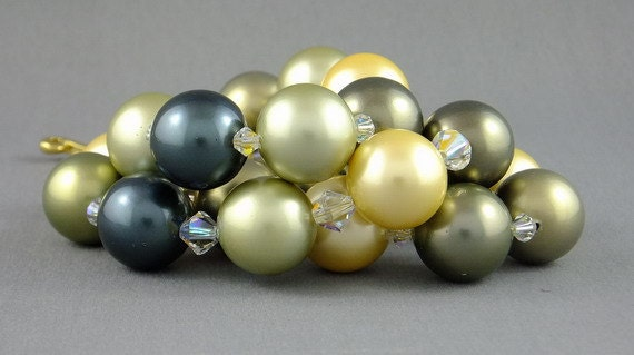 Pearl and crystal necklace AND earrings: one of a kind, simply huge by Simply Adorned