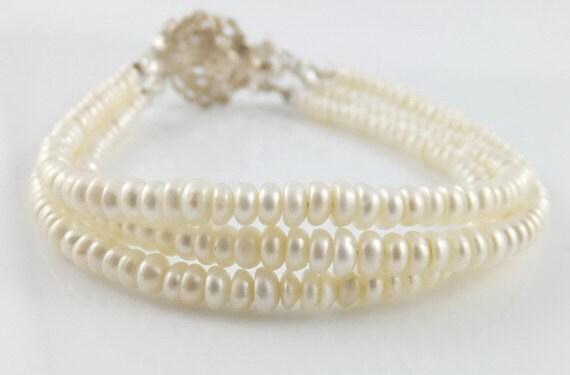 Keshi pearl bracelet, triple strand, wedding jewelry, multi strand, three strand sterling silver: simply resplendent by Simply Adorned