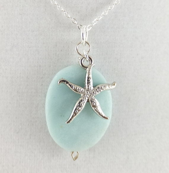 Seashore pewter starfish, sea foam blue amazonite pendant, 30 dollar gift, sterling silver necklace: simply seaside Simply Adorned