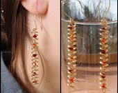Helix earrings: Swarovski crystals wrapped in brass wire