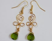 """Earrings """"Irish heart"""" - swarovski briolettes and gold plated wire"""