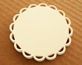 Lace Scalloped Doily Circle Die Cuts set of 12 Ivory - Handmade die cuts, tags, and paper crafting supplies by UniquesStashNStuff