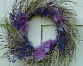 Lavender Butterfly and Owl Feather Twig Wreath