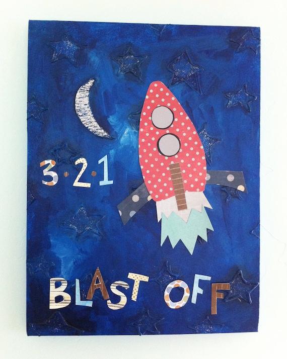 Rocket 3D handmade original painting 12x16 canvas