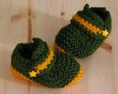 Green & Gold  Loafers Booties, Football, Basketball, Baseball, Soccer, 6 to 9 Month Size,Baby Gift