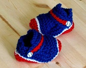 Blue, Red & White Baseball Loafer Booties, 6-9 Month Size, MLB, Baby Gift