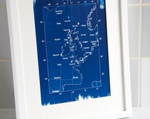 Shipping Forecast Map 'Classic' A4 Hand coated traditionally made cyanotype