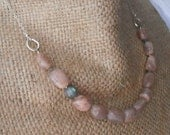 Path-FREE SHIPPING-Chunky Peach Pink Moonstone Nugget Stones and One Faceted Labradorite Round Stone-Earthy Sterling Artisan Necklace
