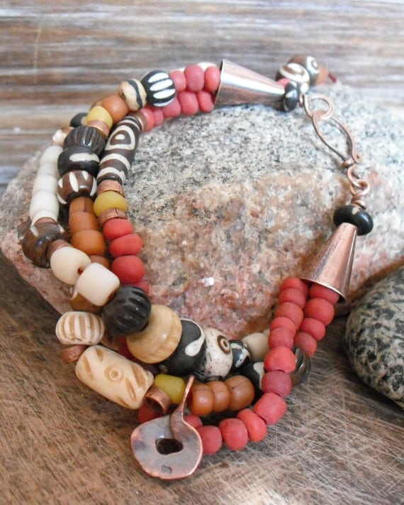 Sunset.  Red, Orange, and Yellow Modern Indo-Pacific Glass Beads, Bone Beads, and Hand Forged Copper Bracelet