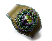 Leather cuff bracelet beaded with Swarovski crystal in olive green and purple