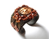 Bead embroidered cuff bracelet, OOAK jewelry with goldstone, statement bracelet, Indian Summer Valentine's Day SALE