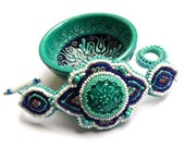 Iznik tile bracelet, bead embroidered OOAK jewelry, Arabesque style with Turkish ceramic cabochon Valentine's Day SALE