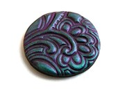 Polymer clay cabochon, handmade, teal and purple, floral 3 cm