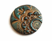 Henna polymer clay cabochon in dark teal -  bronze, lotus flower, 1.4 inch - 3.5 cm