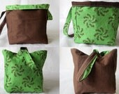 Knitting Project Bag/Crochet Project Bag (reversible wristlet) in green and browns